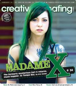 Geri X on the cover of Creative Loafing, 2009