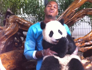 Carmelo Anthony with a Panda on His Lap